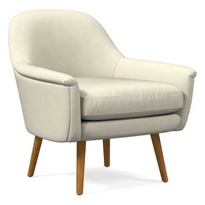 Phoebe Midcentury Chair, Poly, Vegan Leather, Snow, Pecan - West Elm