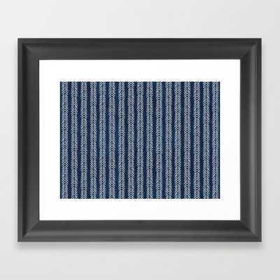 Mud Cloth - Navy Arrowheads Framed Art Print by Becky Bailey - Scoop Black - X-Small-10x12 - Society6