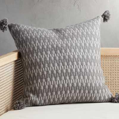 "23"" Sven Grey Tassel Pillow with Down-Alternative Insert - CB2"