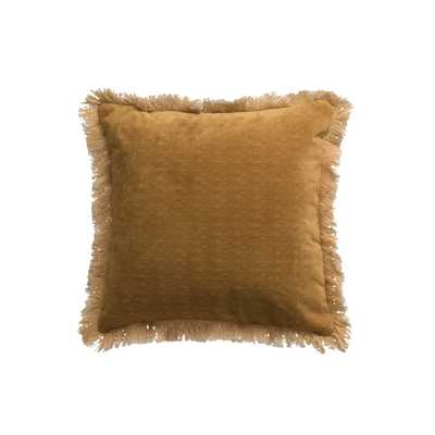 "18"" Square Polyester Pillow with Fringed Ends - Moss & Wilder"