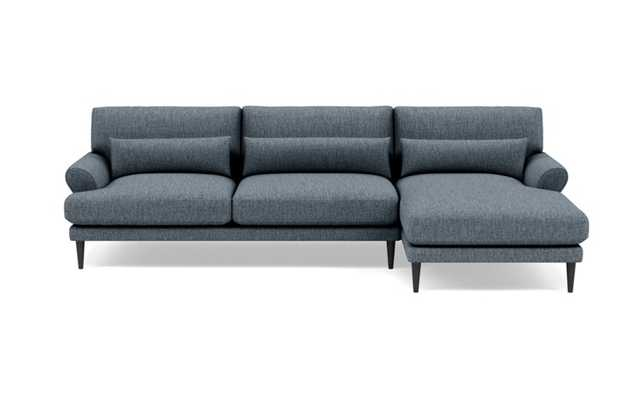 Maxwell Right Sectional with Blue Rain Fabric, extended chaise, and Painted Black legs - Interior Define