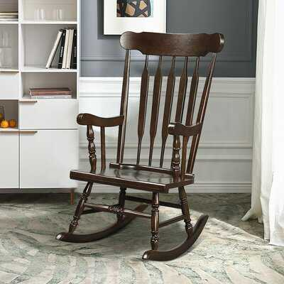 Solid Wood Rocking Chair Porch Rocker Indoor Outdoor Seat Glossy Finish Coffee - Wayfair