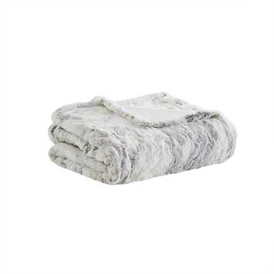 """Beautyrest Marselle Natural Marble 50"""" x 70"""" Oversized Faux Fur Heated Throw - Home Depot"""
