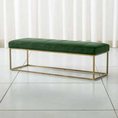 Channel Dark Green Velvet Bench with Brass Base - Crate and Barrel