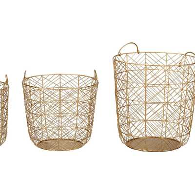 Home Decorators Collection Round Gold Metal Wire Decorative Basket (Set of 3) - Home Depot