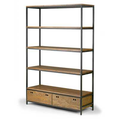 Glamour Home Alta Brown Pine Wood Display Shelf Etagere Metal Frame Bookcase with Drawers, Brown/ Black frame - Home Depot