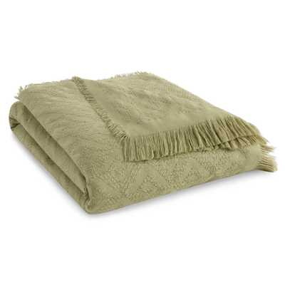 """Tommy Bahama Diamond Fringe Pastel Green 60in. L"""" X 50in. W"""" Throw - Home Depot"""