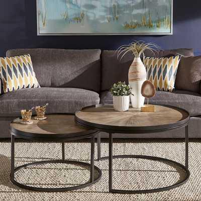 HomeSullivan Grey Oak Round Nesting Coffee Tables (Set of 2), Brown - Home Depot