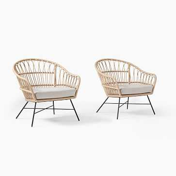 Palma Rattan Lounge Chair Natural Rattan Lounge Chairs, Set of 2 - West Elm