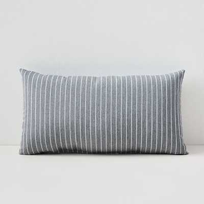 "Sunbrella Indoor/Outdoor Striped Lumbar Pillow, Smoke, Set of 2, 12""x21"" - West Elm"
