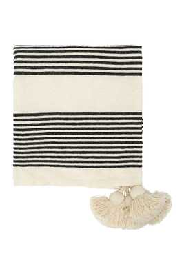 Cotton & Chenille Woven Throw with Stripes & Tassels - Nomad Home