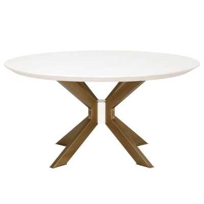 Scarlett Industrial Loft White Concrete Round Dining Table - 60 inches - Kathy Kuo Home