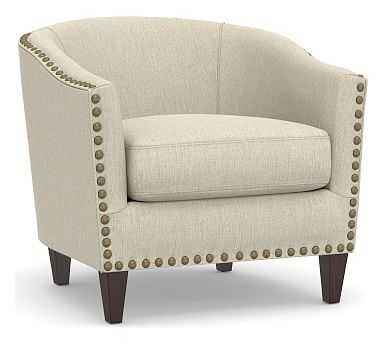 Harlow Upholstered Armchair with Pewter Nailheads, Polyester Wrapped Cushions, Chenille Basketweave Oatmeal - Pottery Barn