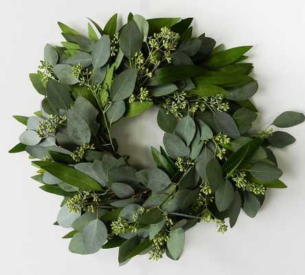 """Fresh Bay Leaf and Seeded Eucalyptus Wreath, 20"""" - Pottery Barn"""