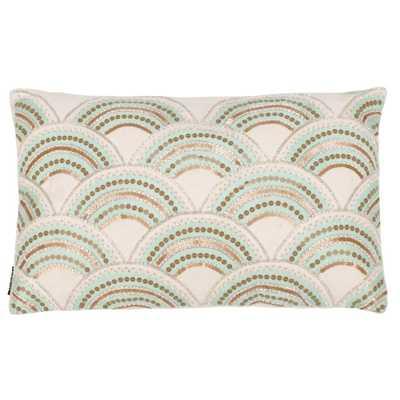 Safavieh Kadri 12 in. x 20 in. Standard Pillow, Beige/Teal/Gold - Home Depot