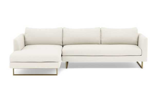 Owens Left Sectional with White Cirrus Fabric, down alt. cushions, and Matte Brass legs - Interior Define