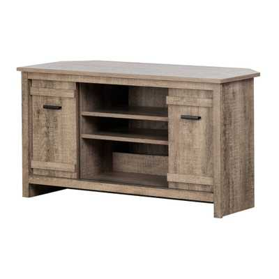 """Exhibit Corner TV Stand for TVs up to 42"""" Weathered Oak - South Shore, Weathered Brown - Target"""