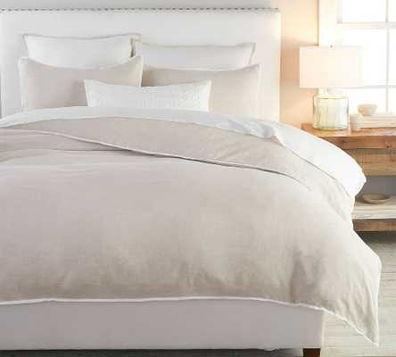 Belgian Flax Linen Contrast Duvet Cover, King/Cal King, Natural/White - Pottery Barn