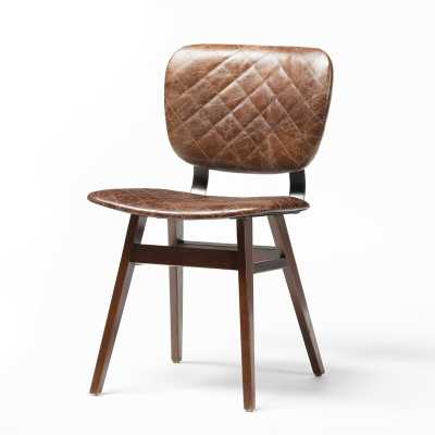 Four Hands Irondale Leather Upholstered Side chair Upholstery Color: Brown, Leg Color: Brown - Perigold