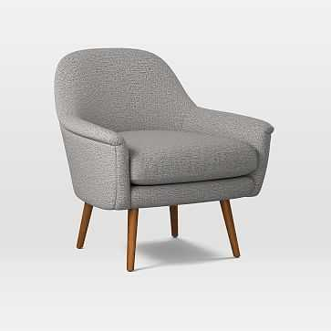 Phoebe Midcentury Chair, Poly, Deco Weave, Feather Gray, Pecan - West Elm