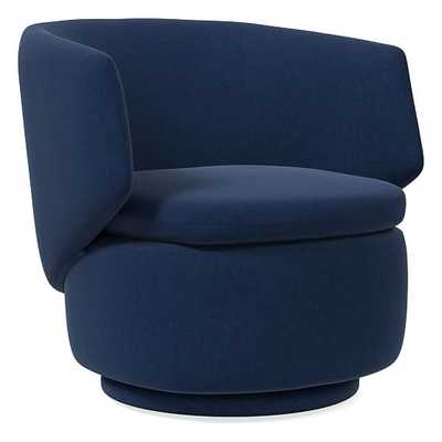 Crescent Swivel Swivel Chair, Performance Velvet, Ink Blue, Concealed Support (Made to Order (ships in 6-9 weeks) - West Elm