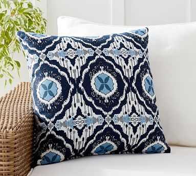 "Sunbrella(R) Juba Blue Ikat Indoor/Outdoor Pillow, 20 x 20"", Blue Multi - Pottery Barn"