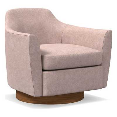 Haven Swivel Chair, Poly, Distressed Velvet, Light Pink, Dark Walnut - West Elm