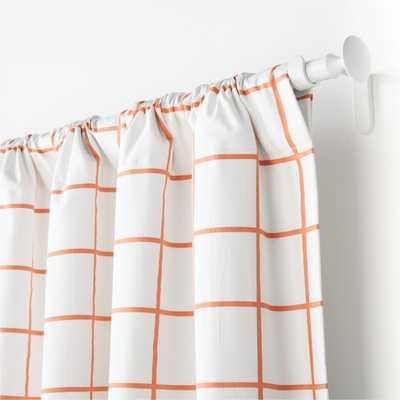 "Orange Grid 84"" Curtain Panel - Crate and Barrel"