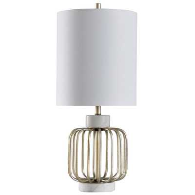 StyleCraft Westray 30 in. White Marble and Brass Table Lamp - Home Depot