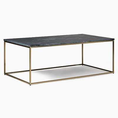 "Streamline Rectangle Coffee Table- Pack Rectangle Black Marble/Light Bronze 44"" - West Elm"