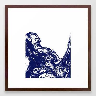 Indigo Wave Water Ocean Abstract Painting Blue And White Nautical Trendy Gender Neutral Dorm Framed Art Print by Charlottewinter - Conservation Walnut - MEDIUM (Gallery)-22x22 - Society6