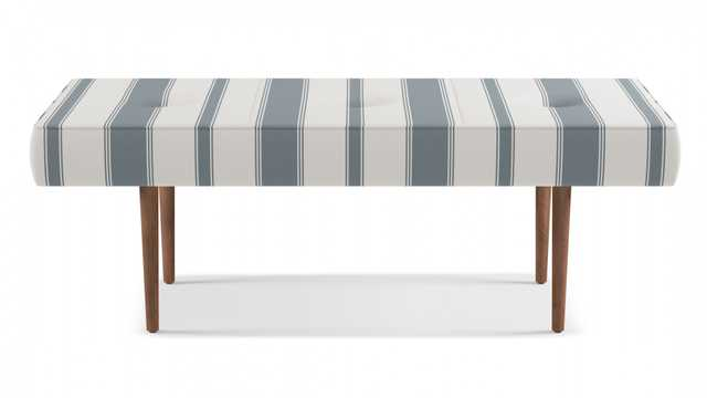 Mid-Century Bench | French Blue Clarence Stripe - The Inside