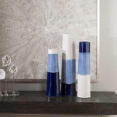 Sconset White & Blue Vases, S/3 - Hudsonhill Foundry