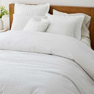 Cotton Eyelet Duvet, King Duvet & King Shams, White - West Elm