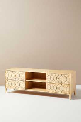 Textured Trellis Media Console By Anthropologie in Beige - Anthropologie