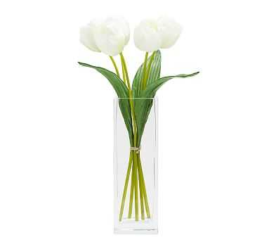 Faux Early Bloom Tulip Bouquet, White - Pottery Barn