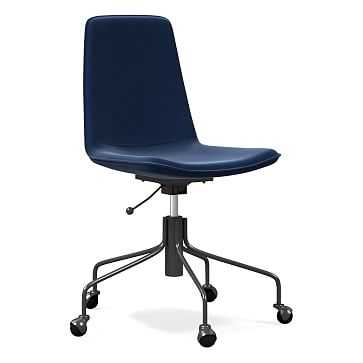 Slope Office Chair, Performance Velvet, Ink Blue - West Elm