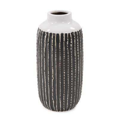 """Keltner Black/White 10"""" Ceramic Table Vase - Wayfair"""