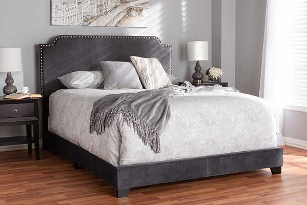 Baxton Studio Darcy Luxe and Glamour Dark Grey Velvet Upholstered King Size Bed - Lark Interiors