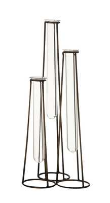 Three Test Tube Bud Vases in Metal Stand (Set of 4 Pieces) - Moss & Wilder