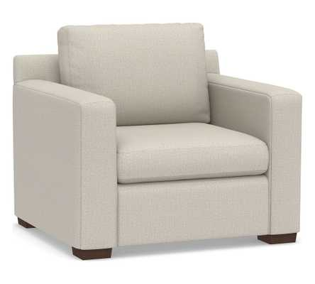 Shasta Square Arm Upholstered Armchair, Polyester Wrapped Cushions, Performance Heathered Tweed Pebble - Pottery Barn
