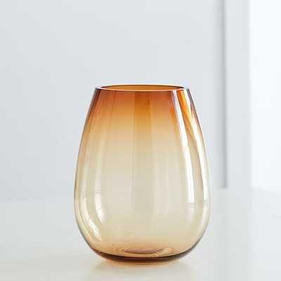 Pure Foundations Glass Vases, Large Vase, Amber - West Elm