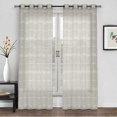 Summer Night Chenille Stripe Sheer Curtain - Wayfair