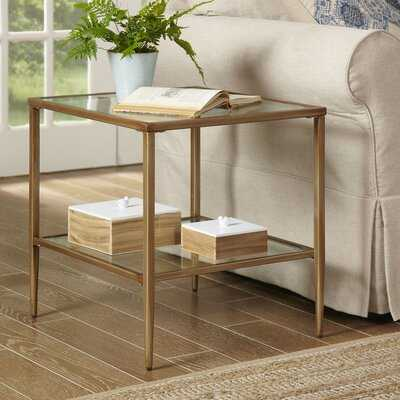Double Glass Top End Table with Storage - Wayfair