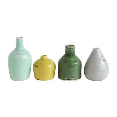 Blue, Yellow, Green & White Terracotta Vases (Set of 4 Colors/Shapes) - Nomad Home