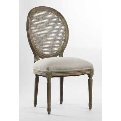 Zentique Medallion Linen Cane Back Side Chair in Gray Upholstery Color: Natural Linen with full Olive Green - Perigold