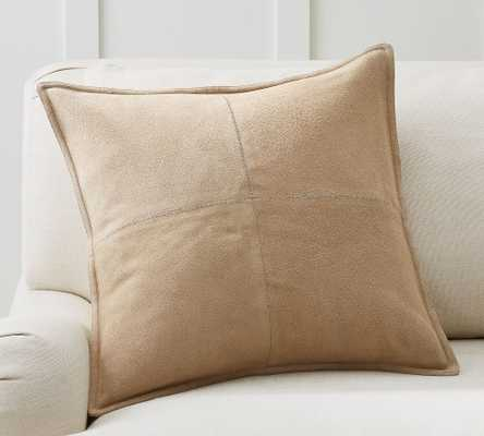 """Pieced Suede Pillow Cover, 20 x 20"""", Stone - Pottery Barn"""