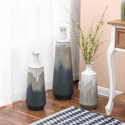 3 Piece Aodren Gray Metal Floor Vase Set - Wayfair