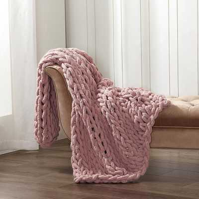 AMERICAN HERITAGE Blush Chunky Chenille Throw - Home Depot