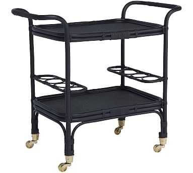 Carlo Rattan Bar Cart, Black - Pottery Barn